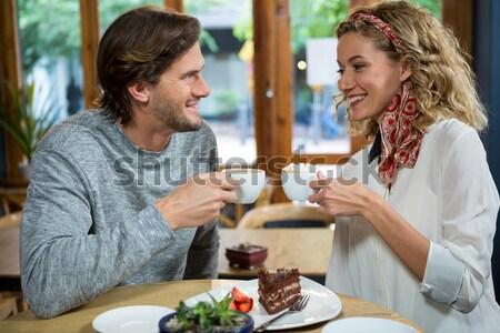 肖像 微笑的女人 酒 午餐 餐廳 業務 商業照片 © wavebreak_media