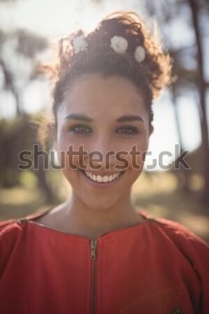 Cheerful woman looking up Stock photo © wavebreak_media