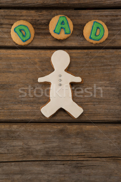 Dad text written on cookies with gingerbread Stock photo © wavebreak_media