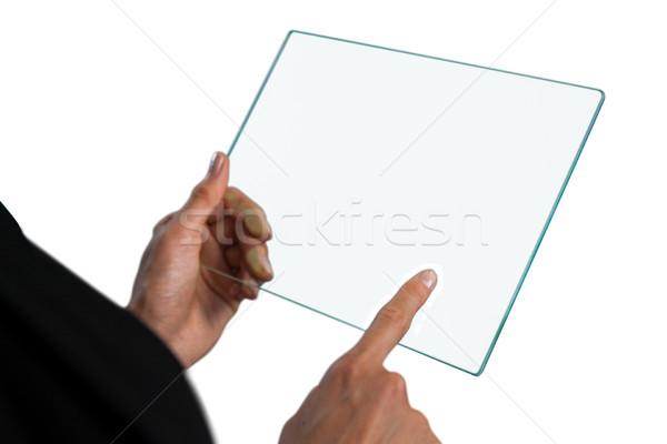 изображение деловая женщина прикасаться стекла интерфейс белый Сток-фото © wavebreak_media