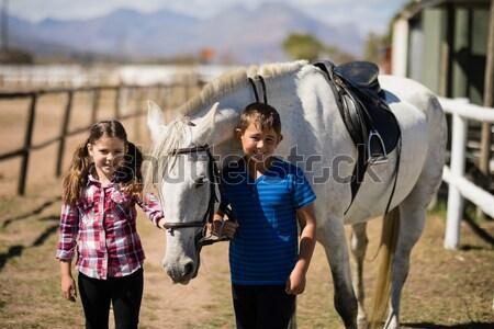 Mujer hermana limpieza caballo pie familia Foto stock © wavebreak_media