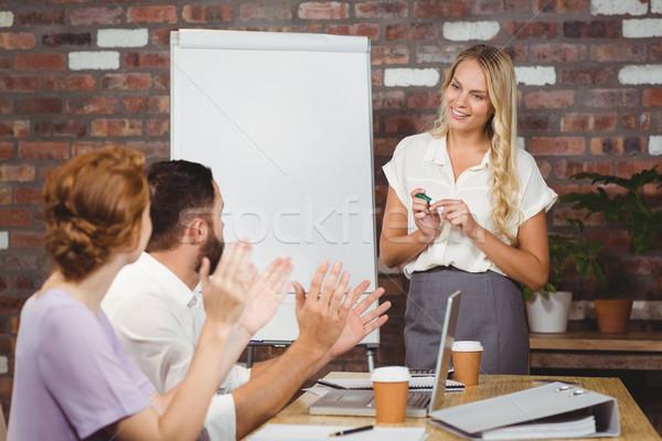 Koledzy kobieta interesu kobieta spotkanie szczęśliwy Zdjęcia stock © wavebreak_media
