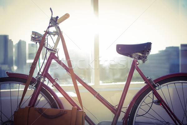 Stock photo: Close up view of a red bicycle