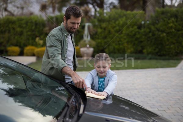 Adolescente père lavage voiture eau Photo stock © wavebreak_media