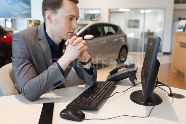 Satıcı çalışma araba showroom eller Stok fotoğraf © wavebreak_media