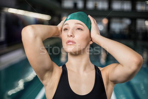 Pretty woman cap piscina donna acqua Foto d'archivio © wavebreak_media