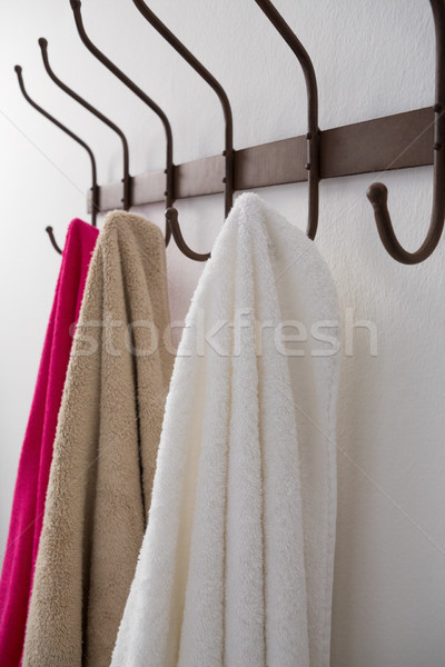 Close-up of colorful towels hanging on hook Stock photo © wavebreak_media