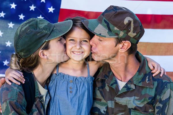 Soldado Pareja hija bandera de Estados Unidos nina hombre Foto stock © wavebreak_media