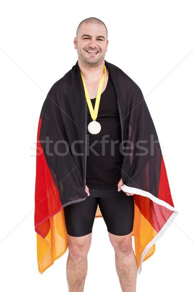 Atléta aranyérem tart Németország zászló fehér Stock fotó © wavebreak_media