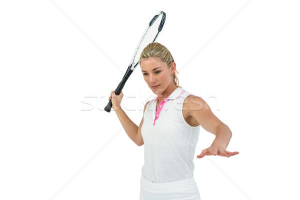 Atléta játszik teniszütő fehér nő sportok Stock fotó © wavebreak_media