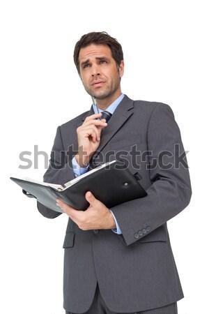 üzletember sms üzenetküldés mobiltelefon fehér internet férfi Stock fotó © wavebreak_media