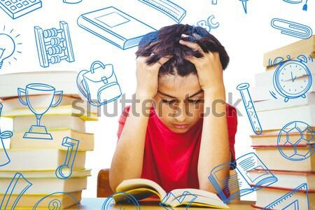 Uczennica czytania książki biurko matematyka gryzmolić Zdjęcia stock © wavebreak_media