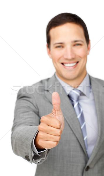 Alegre empresario pulgar hasta aislado blanco Foto stock © wavebreak_media