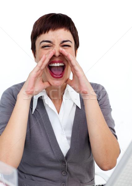 Fiatal üzletasszony kiabál iroda üzlet nő Stock fotó © wavebreak_media