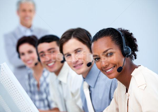 Encantador atendimento ao cliente call center computador mulher escritório Foto stock © wavebreak_media