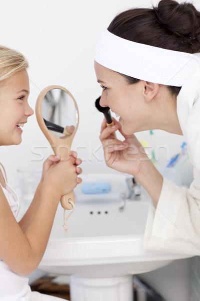 Kız ayna anne makyaj banyo Stok fotoğraf © wavebreak_media