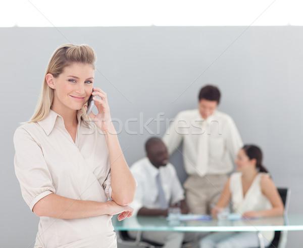 Retrato sério empresária em pé homem reunião Foto stock © wavebreak_media