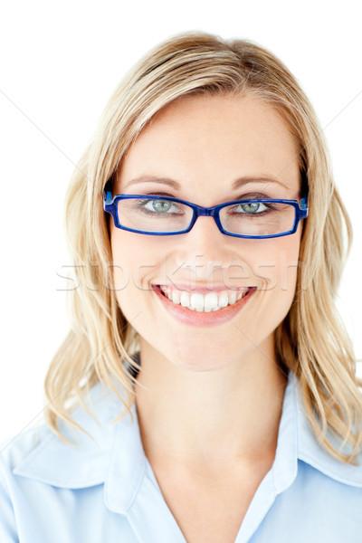 деловая женщина очки улыбаясь камеры белый счастливым Сток-фото © wavebreak_media