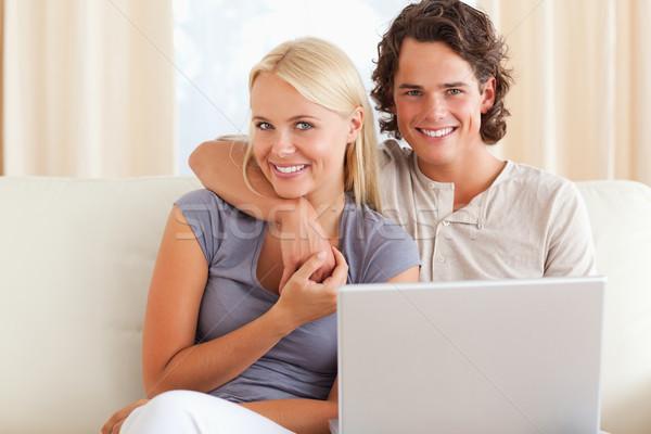 дружественный пару ноутбука гостиной бизнеса Сток-фото © wavebreak_media