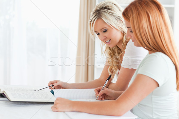 Frauen Sitzung Tabelle Hausaufgaben Küche Schönheit Stock foto © wavebreak_media