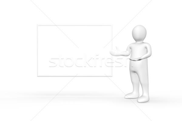 Ilustrado branco descobrir em pé cópia espaço mão Foto stock © wavebreak_media