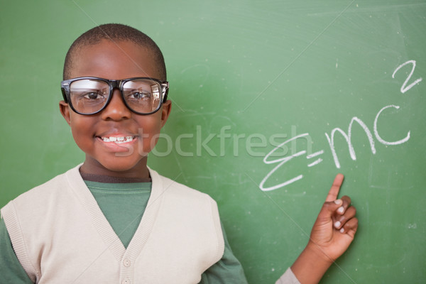 Schooljongen tonen formule Blackboard school zwarte Stockfoto © wavebreak_media