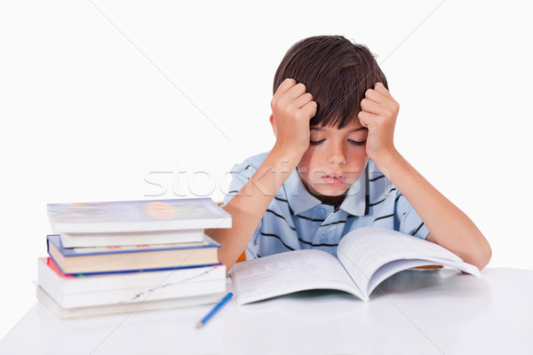 Focused boy learning his lessons against a white background Stock photo © wavebreak_media