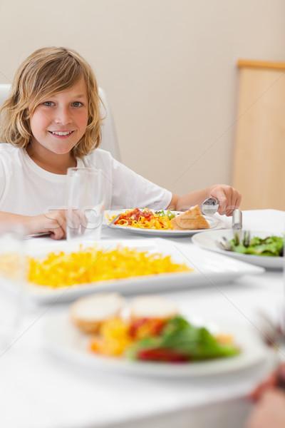 Erkek oturma yemek masası salata gülen mutluluk Stok fotoğraf © wavebreak_media