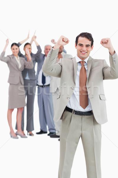 Biznesmen zespołu za biały uśmiech Zdjęcia stock © wavebreak_media