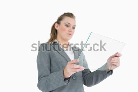 Közelkép elarusítónő érintőképernyő számítógép fehér iroda Stock fotó © wavebreak_media