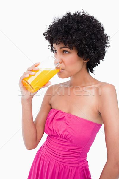 Casual adolescente delicioso suco de laranja vidro Foto stock © wavebreak_media