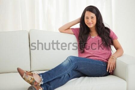 студент видео чате сидят диван ноутбука Сток-фото © wavebreak_media