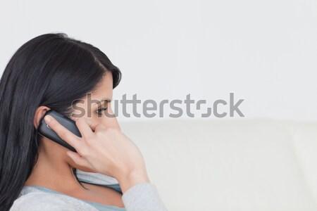 Foto stock: Mulher · telefone · sessão · sofá · sala · de · estar