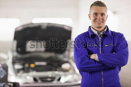 Araba garaj gülümseme mutlu Metal mekanik Stok fotoğraf © wavebreak_media