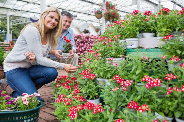 Nő mosolyog néz növények kert férfi tart Stock fotó © wavebreak_media