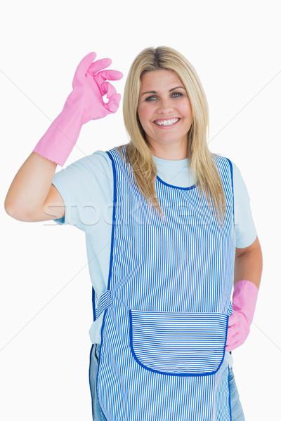 Cleaner donna segno di mano bianco Foto d'archivio © wavebreak_media