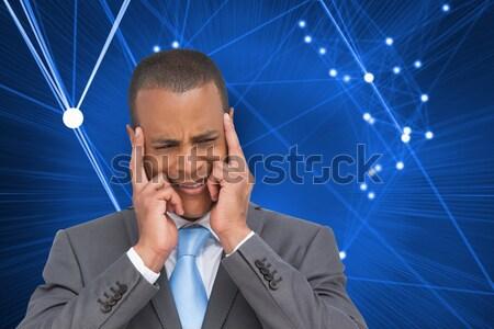 Empresário dedos cara masculino em pé Foto stock © wavebreak_media