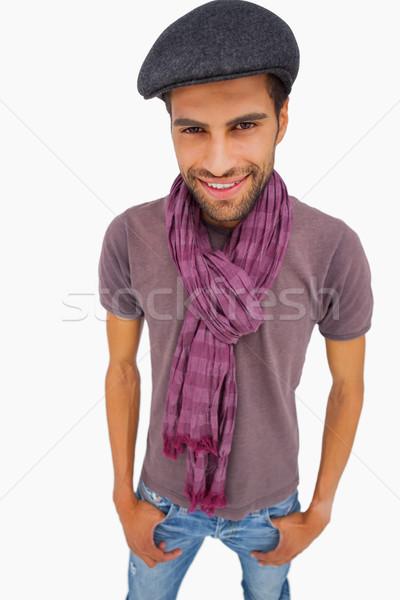 улыбаясь человека Cap шарф белый Сток-фото © wavebreak_media