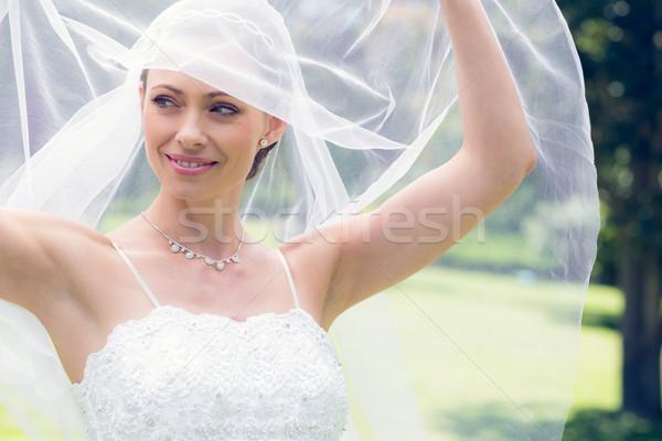 Bruid sluier tuin glimlachend jonge Stockfoto © wavebreak_media