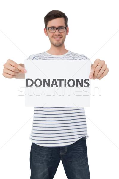 Portré boldog fiatalember tart adomány jegyzet Stock fotó © wavebreak_media