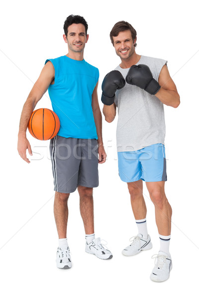Twee geschikt mannen bokshandschoenen basketbal Stockfoto © wavebreak_media