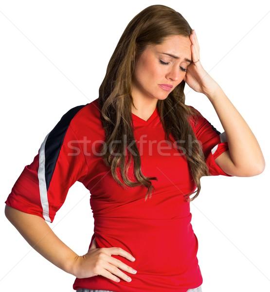 Foto stock: Decepcionado · fútbol · ventilador · mirando · hacia · abajo · blanco · mujer