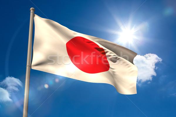 Japonia banderą maszt Błękitne niebo słońce świetle Zdjęcia stock © wavebreak_media