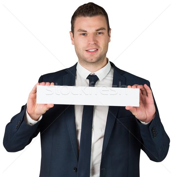 Boldog üzletember mutat kártya kamerába fehér Stock fotó © wavebreak_media