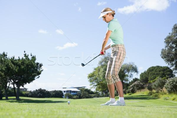Stok fotoğraf: Kadın · golfçü · golf · sahası · çim