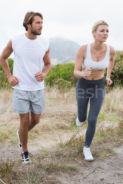 Séduisant couple jogging montagne sentier Photo stock © wavebreak_media
