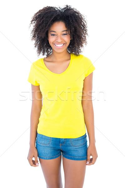 Csinos lány citromsárga póló farmer forró Stock fotó © wavebreak_media
