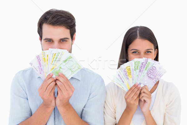 Foto stock: Feliz · casal · dinheiro · branco · financiar