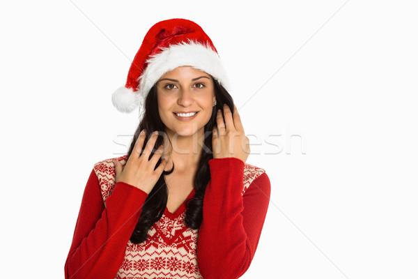 Nő mosolyog kamera fehér piros női karácsony Stock fotó © wavebreak_media