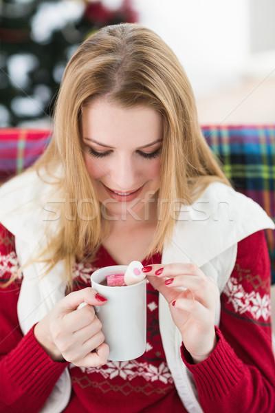 Mutlu kış elbise kupa Stok fotoğraf © wavebreak_media